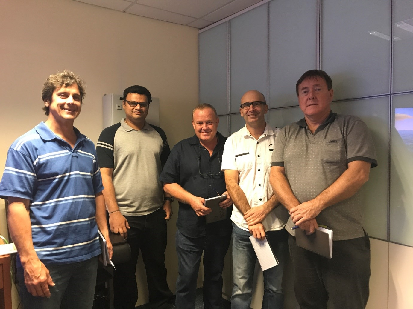 Picture above: DP Maintenance Course attendants, from left to right: Craig Edward Thomas, Baala Sadasivam (Instructor, Sinor Marine), James Duncan O'Flaherty, Glenn Nathan Gibson and Christopher Lloyd May.